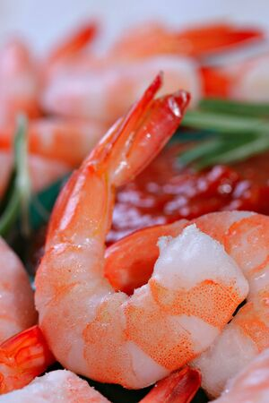 Jumbo Cocktail Shrimp Close-up Shallow DOF Stockfoto