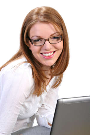 Young Businesswoman Confident Smile in front of Computer Isolated photo