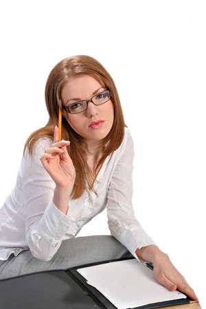 Femal Business Woman Thinking on Isolated Background photo