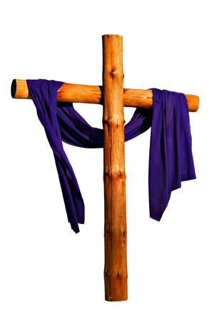 christian faith: Wooden Cross with Purple Cloth Isolated