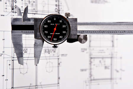 engineering drawing: Grunge Caliper with Engineering Drawing Background