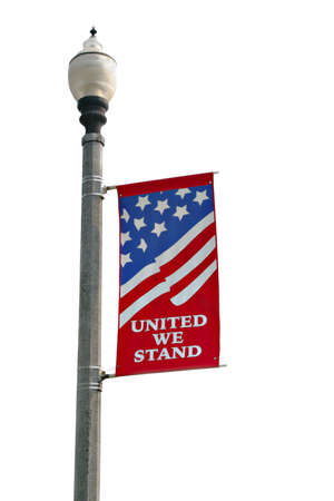 United We Stand American Flag Banner Isolated Stock Photo - 2774754