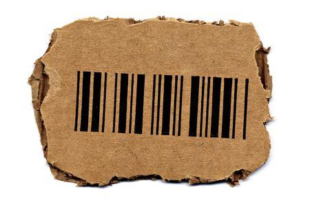 Barcode Cutout from Carton Box Stock Photo