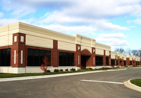 warehouse building: Newly Finished Small Business Buidling Plaza Stock Photo