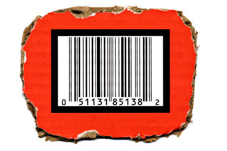 Barcode Cutout from Carton Box photo
