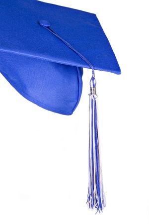mortarboard: Graduation Hat Closeup on Isolated Background Stock Photo