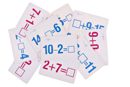 Stack of Math Flash Card on Isolated Background Stock Photo - 2819914