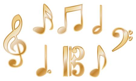 Metallic Glossy Music Notation Symbols Royalty Free Cliparts