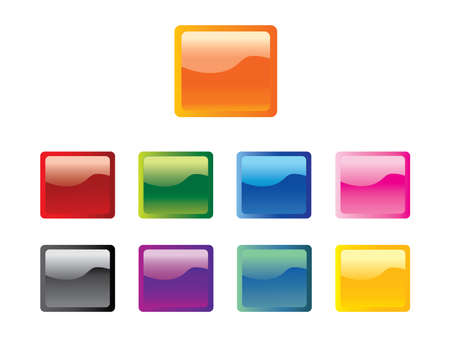 Set of Square Glossy Web Buttons Vector