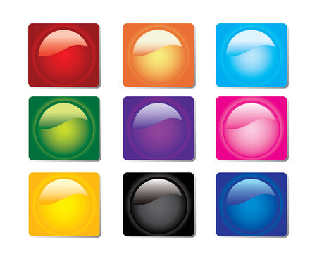 Set of Square Glassy Web Buttons Vector