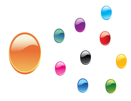 shiny black: Set of 3D Oval Glossy Web Buttons Vector