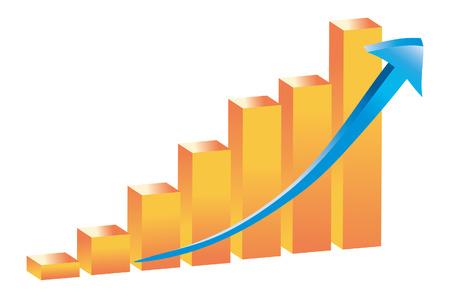 3D Barchart Graph Vector Stok Fotoğraf - 2939037