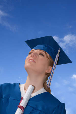 Young Female College Student Hoding Graduation Certificate Stock Photo - 3024773