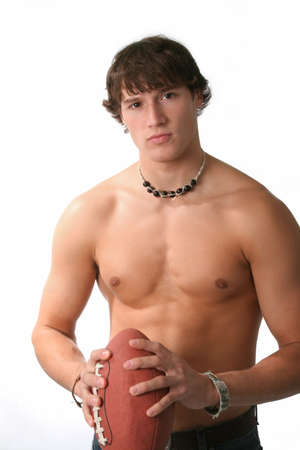 handsome young man holding football Stock Photo - 3063478