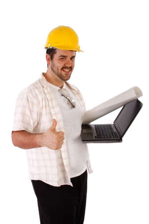 Happy Constructor Holding Laptop on Isolated Background photo
