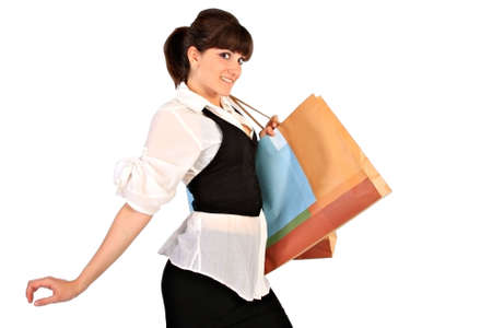 nicely: Nicely Dressed Young Woman Holding Shopping Bags Stock Photo