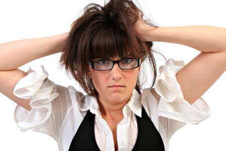 Young Lady Gone Crazy Pulling Hair photo