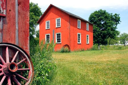 Old Red Barnyard under Summer Clear Sky Stock Photo - 3268100