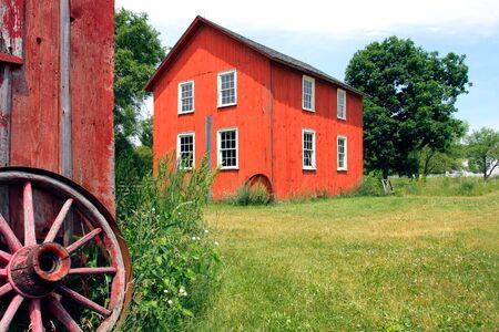 barnyard: Old Red Barnyard under Summer Clear Sky