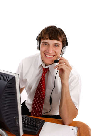 Young Friendly Male Technical Support Person on Isolated Background photo