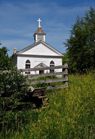 Countryside Church Building under Sunny Blue Sky Stock Photo - 3268094