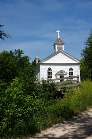 Countryside Church Building under Sunny Blue Sky Stock Photo - 3268085
