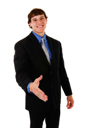 Confident Handsome Young Businessman Handshake Gesture on Isolated Background photo