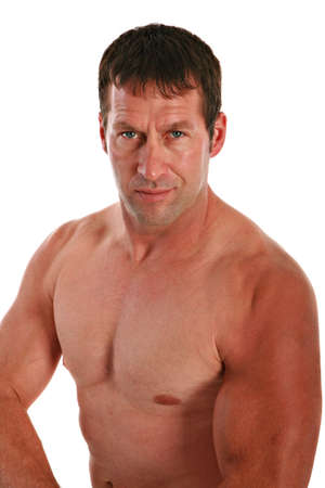 A Health Looking Male in 40s with Strong Muscle on Isolated White Background Stock Photo - 3487309