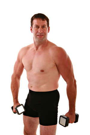 Healthy Looking Man Working Out on Isolated Background Stock Photo - 3487297