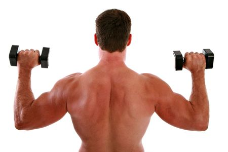 Back of a Man Working Out on Isolated Background Stock Photo - 3487296