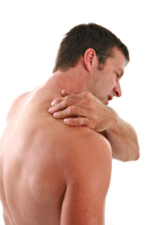 aches: Painful Man Holding Neck on Isolated Background Stock Photo
