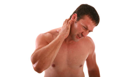 ouch: Painful Expression Man Holding Neck on Isolated Background