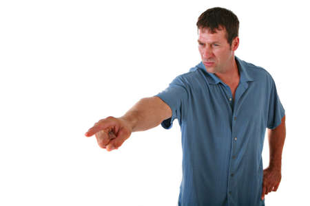 finger point: Angry Man Pointing Finger on Isolated Background