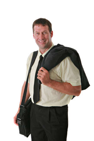 Smiling Business Man with Laptop suitcase Standing photo