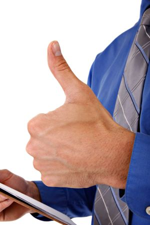 Businessman with Thumb Up Sign Close-up Stock Photo - 3569083