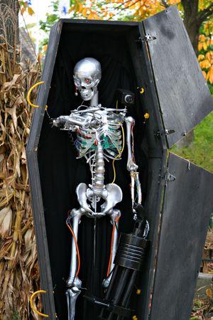 Halloween Robot Skeleton in a Coffin Decoration Stock Photo - 3583286