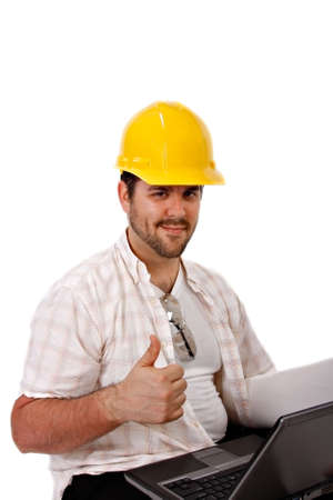 Construction Worker Holding Laptop Thumbs Up Gesture Isolated photo