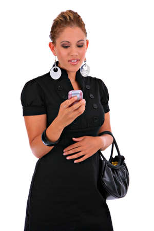 Fashion Young Female Reading Text Message Standing Isolated Stock Photo - 3662673