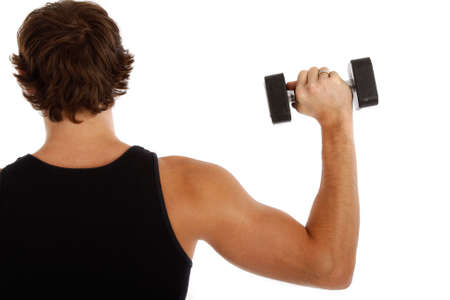 Back of a Young Man Lifting Weights on Isolated Background Stock Photo - 3686282