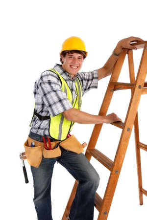 Young Happy Carpenter Ready to Work on Isolated Background photo