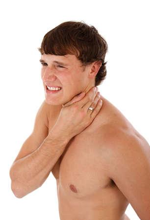 Painful Man Holding Neck on Isolated Background Stock Photo - 3686281