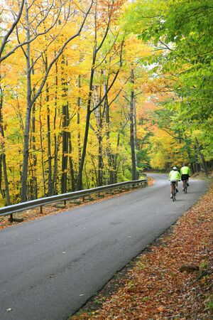 Colorful Autumn Scenic Road in the Park Stock Photo - 3698299
