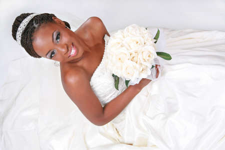 Bequtiful African American Bride Portrait Sitting on White Background
