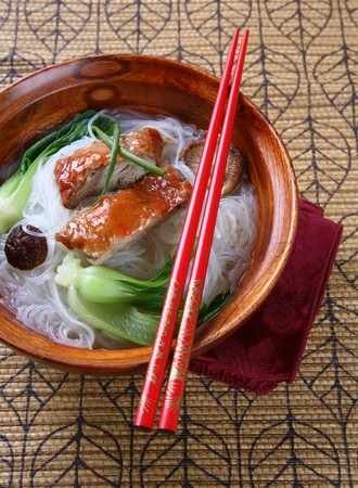 Popular Asian Cuisine - Slices of Roasted Peking Duck with Rice Noodles Soup Bowl Stok Fotoğraf - 3958880