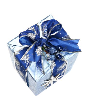 top: Nicely Decorated Blue Christmas Gift Box with Ribbon and Ornament Isolated Top View Stock Photo