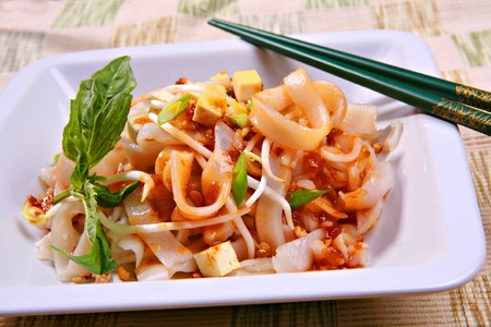 Tofu Pad Thai Vegetarian Dish with Peanuts, Bean Sprouts Hot Sauce Stock Photo - 3958876