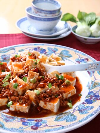 hunan: Mapo Tofu - A Popular Chinese Spicy Dish from Sichuan with Minced Pork, Hot Chili Sauce