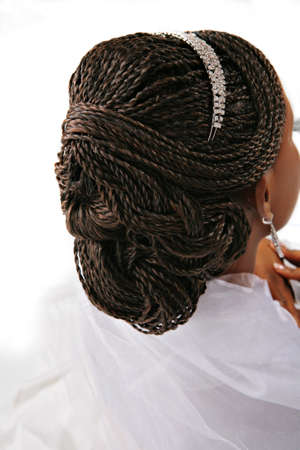 plait: African American Female Fancy Hair Braid Closeup Stock Photo