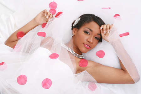 Beautiful African American Bride Portrait on White Background Stock Photo