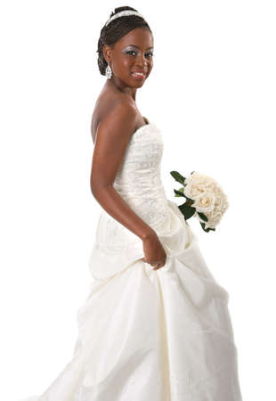 Beautiful African American Bride Portrait Standing on White Background photo